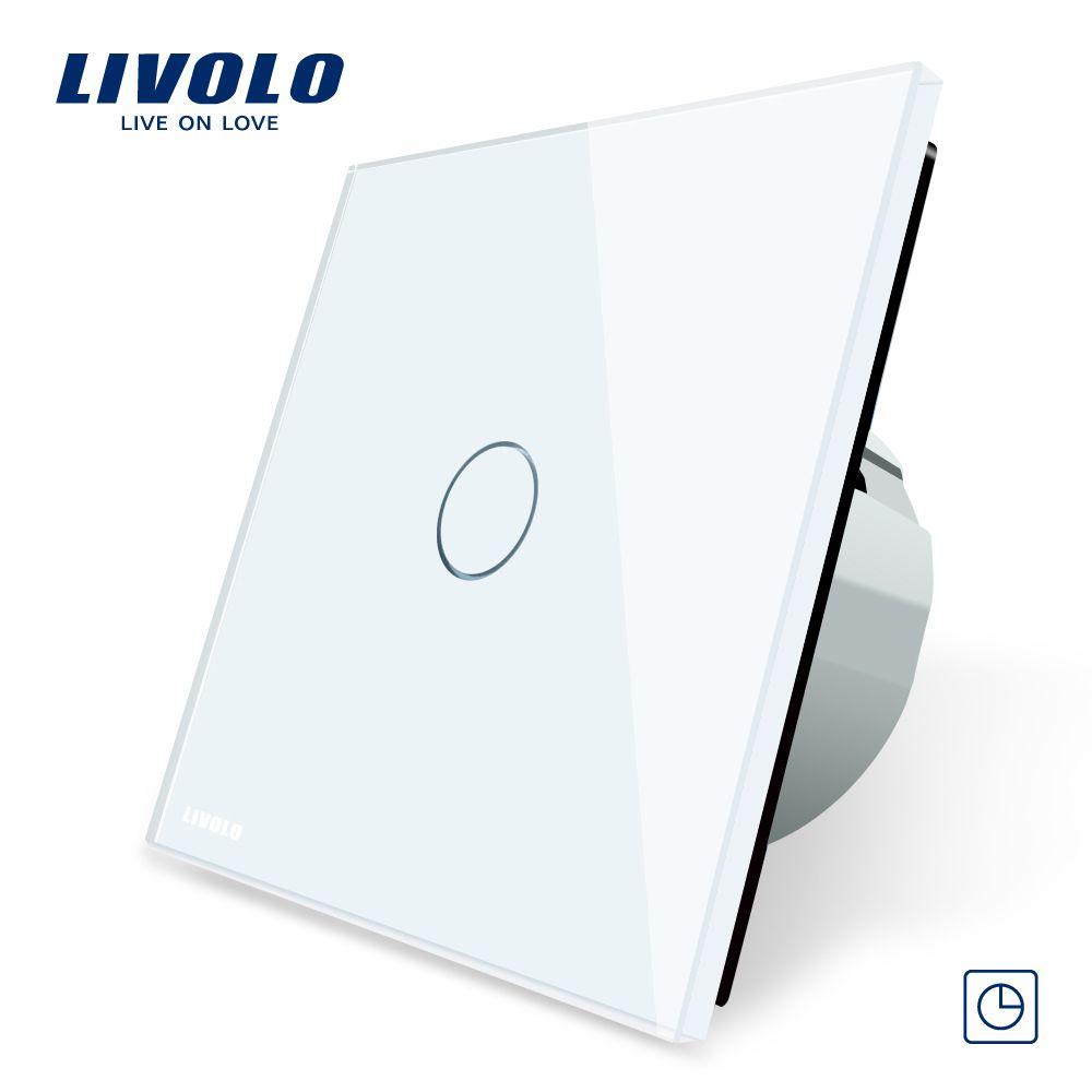 Livolo האיחוד האירופי תקן טיימר מתג עיכוב 30 S 3 צבע זכוכית קריסטל לוח מגע קל מתג Led מחוון C701t 1 2 3 5 Glass Panels Glass Panel Wall Light Switch