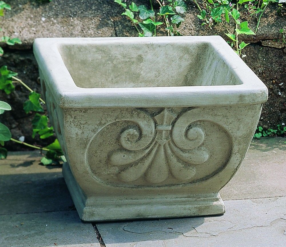Cast Stone Square Fleur Planter