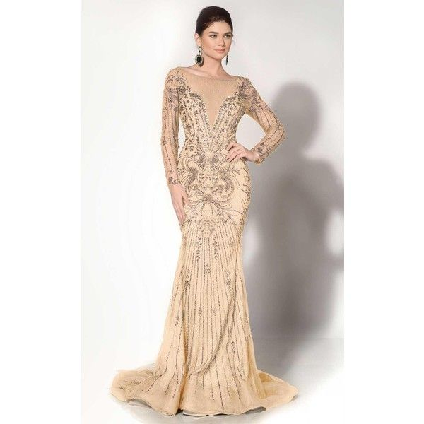 MNM Couture 10593 Holiday Dress Long High Neckline Long Sleeve ...