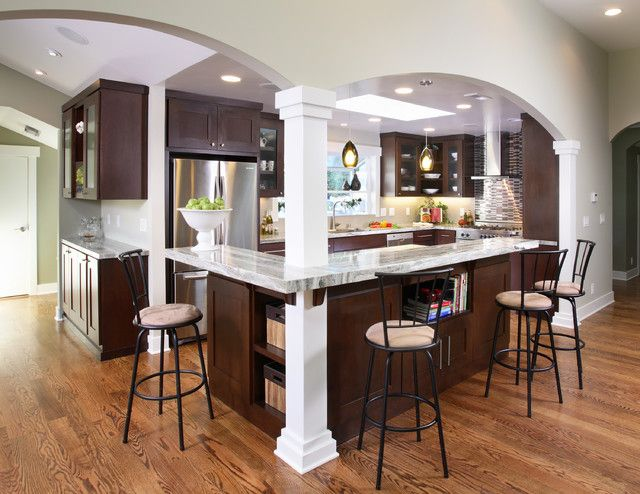 Kitchen Island With Columns love the layout and arches in this kitchen | for the home