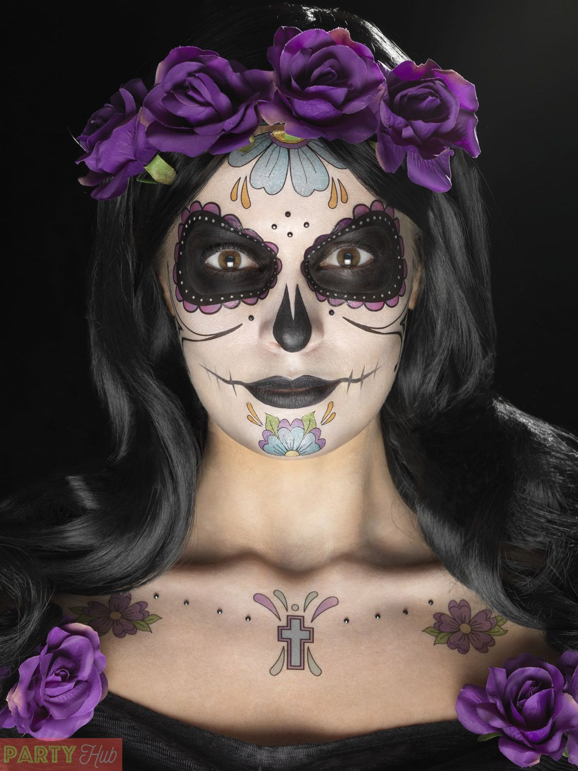 Details about Day of the Dead Makeup Tattoo Kit Halloween