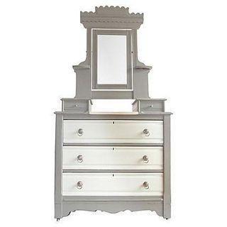 Vintage Victorian vanity dresser marked Armstrong Furniture