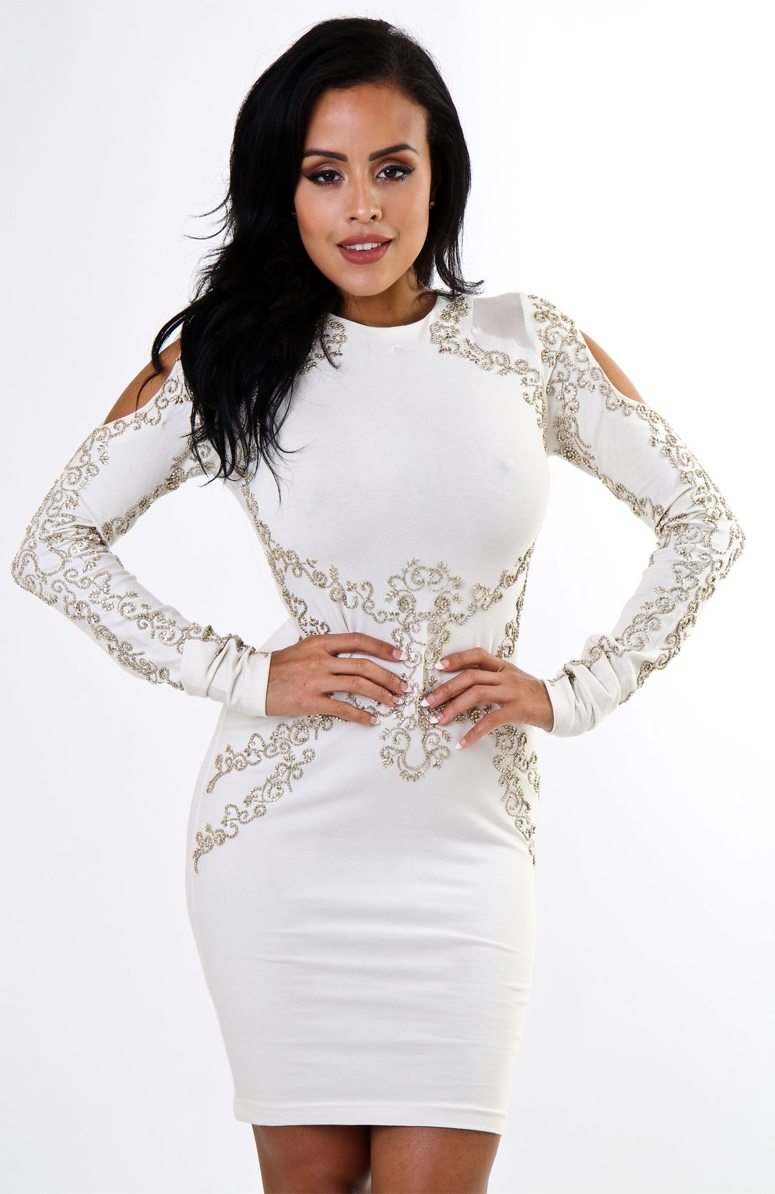 White Gold Beaded Long Sleeve Cutout Shoulder Bodycon Dress White Long Sleeve Dress Bodycon White Fitted Dress Cheap Bodycon Dress [ 1724 x 1120 Pixel ]