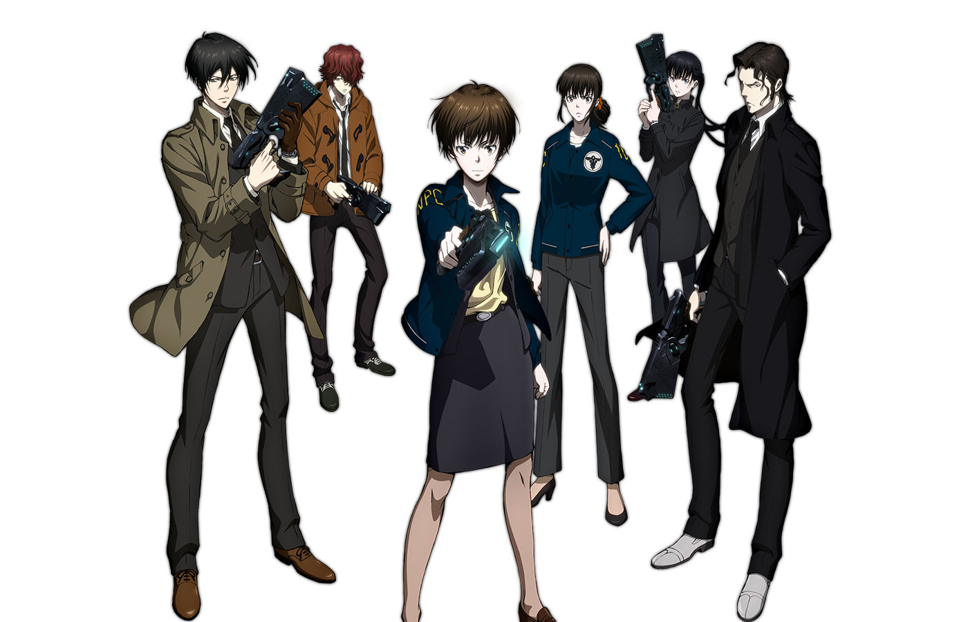 The cast of PsychoPass 2. From left to right, Ginoza, Sho