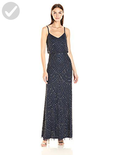 2e5d4659648 Adrianna Papell Women s Long Beaded Blouson Gown