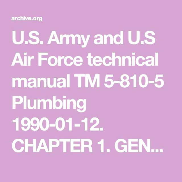 U S  Army and U S Air Force technical manual TM 5-810-5 Plumbing