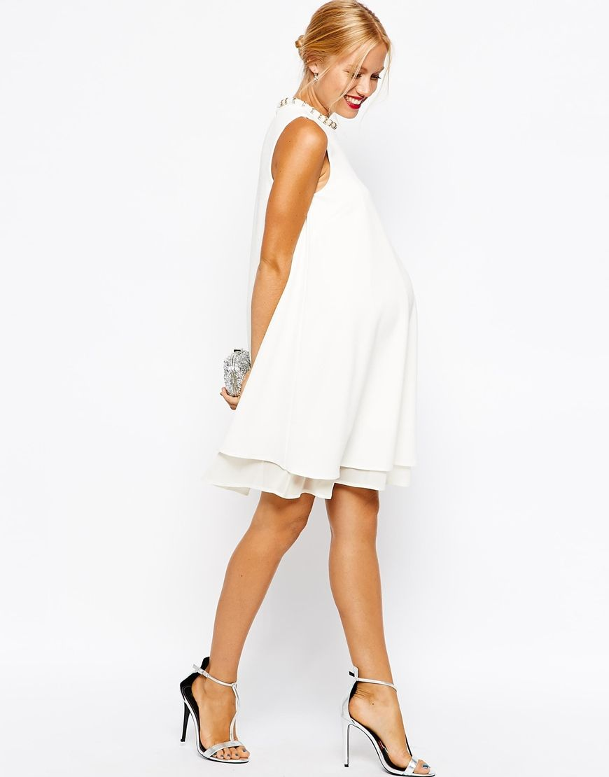 ASOS Maternity Textured Swing Dress with Pearl Neck Trim (for ...