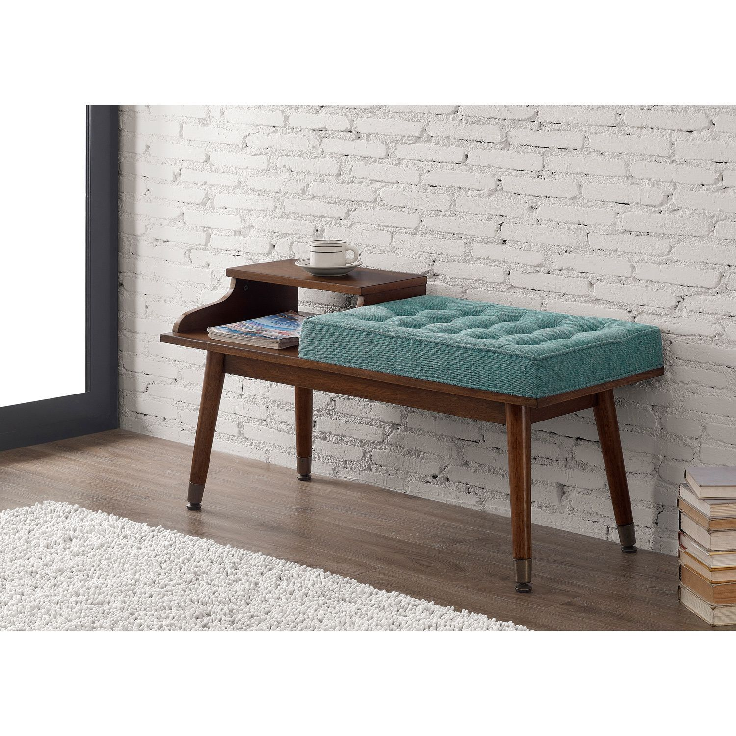 Mid Century Style Tufted Telephone Bench Teal By I Love Living Aqua Color Walnut Wood And