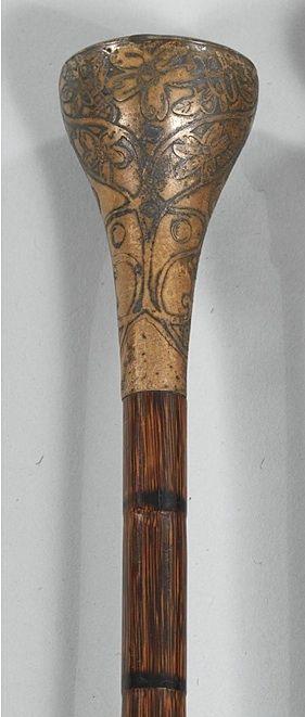 Antique English Capstick Handle Walking Stick Walking