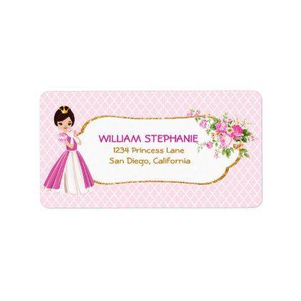 Pretty Brunette Princess Address Labels