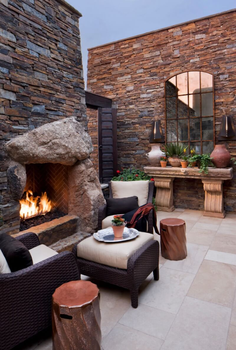 20 Of The Coolest Outdoor Fireplaces Outdoor Mirror Patio