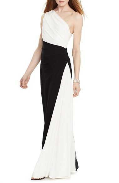 ef2e2f83e49eb Lauren Ralph Lauren Two-Tone One-Shoulder Jersey Gown available at  #Nordstrom