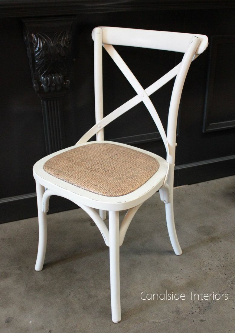 High Quality *Cross Back Chair   Distressed Off White   Canalside Interiors