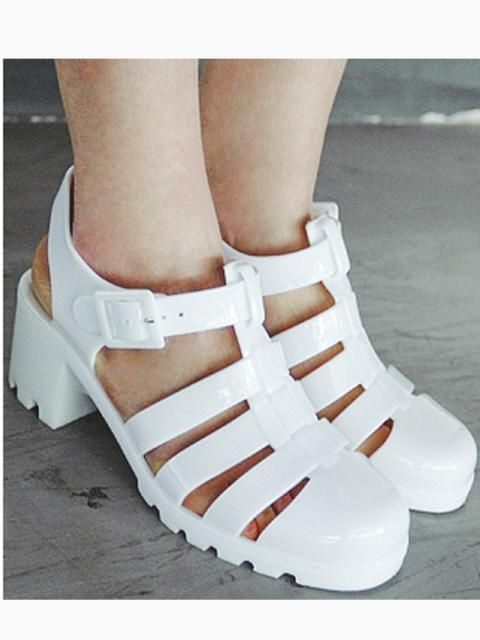 White Gladiator Jelly Sandals with Block Heel | Choies