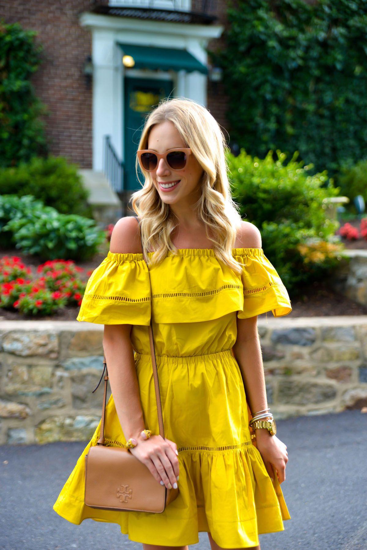 Summer Outfit Inspiration: Ruffled Off Shoulder Dress via @katiesbliss