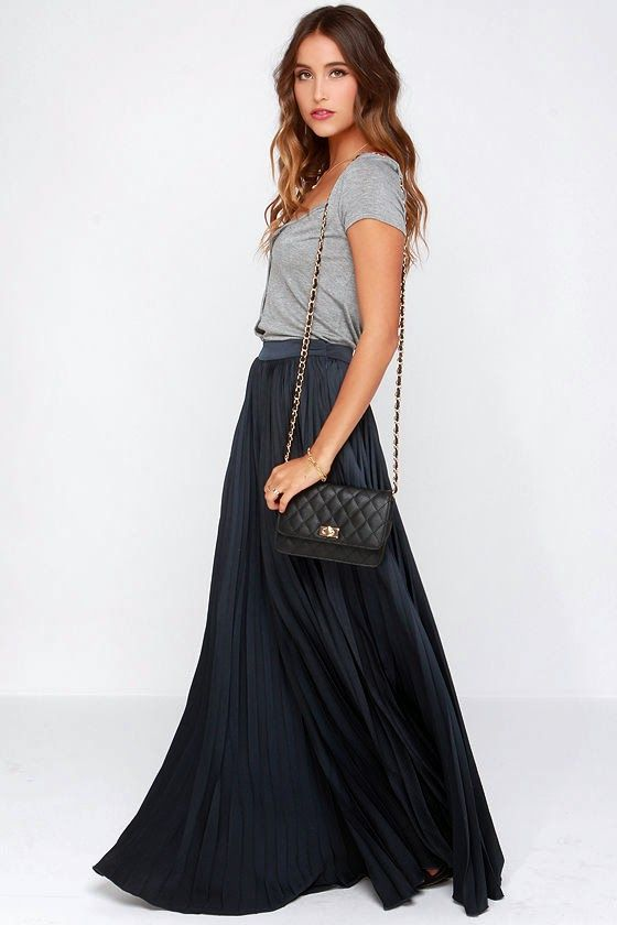 Modest navy pleated maxi skirt for purchase Mode-sty