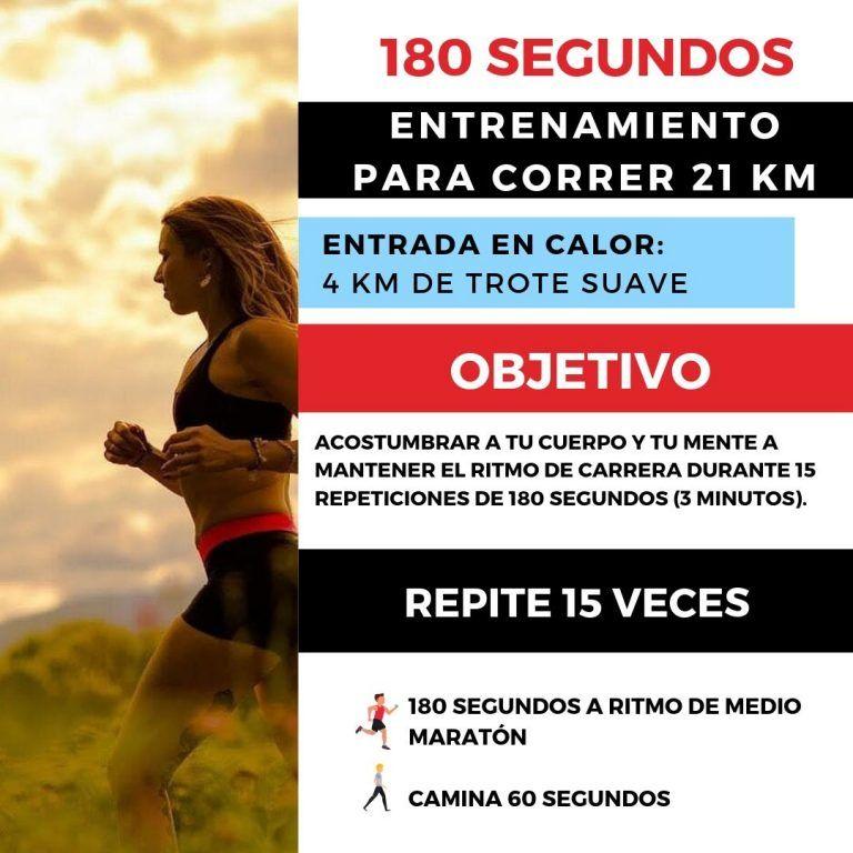180 Segundos Entrenamiento Para El Medio Maratón Entrenamiento Media Maratón Entrenamiento Para Correr Media Maraton