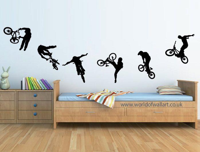 6 stunt bmx bikes wall stickers boys bedroom a4 size decals