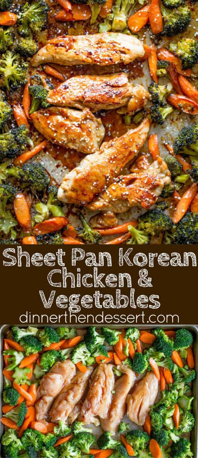 Sheet Pan Korean Chicken and Vegetables are a delicious and easy weeknight meal that cooks in one pan and makes crispy tender vegetables and moist sweet and garlicky chicken. #onepandinnerschicken