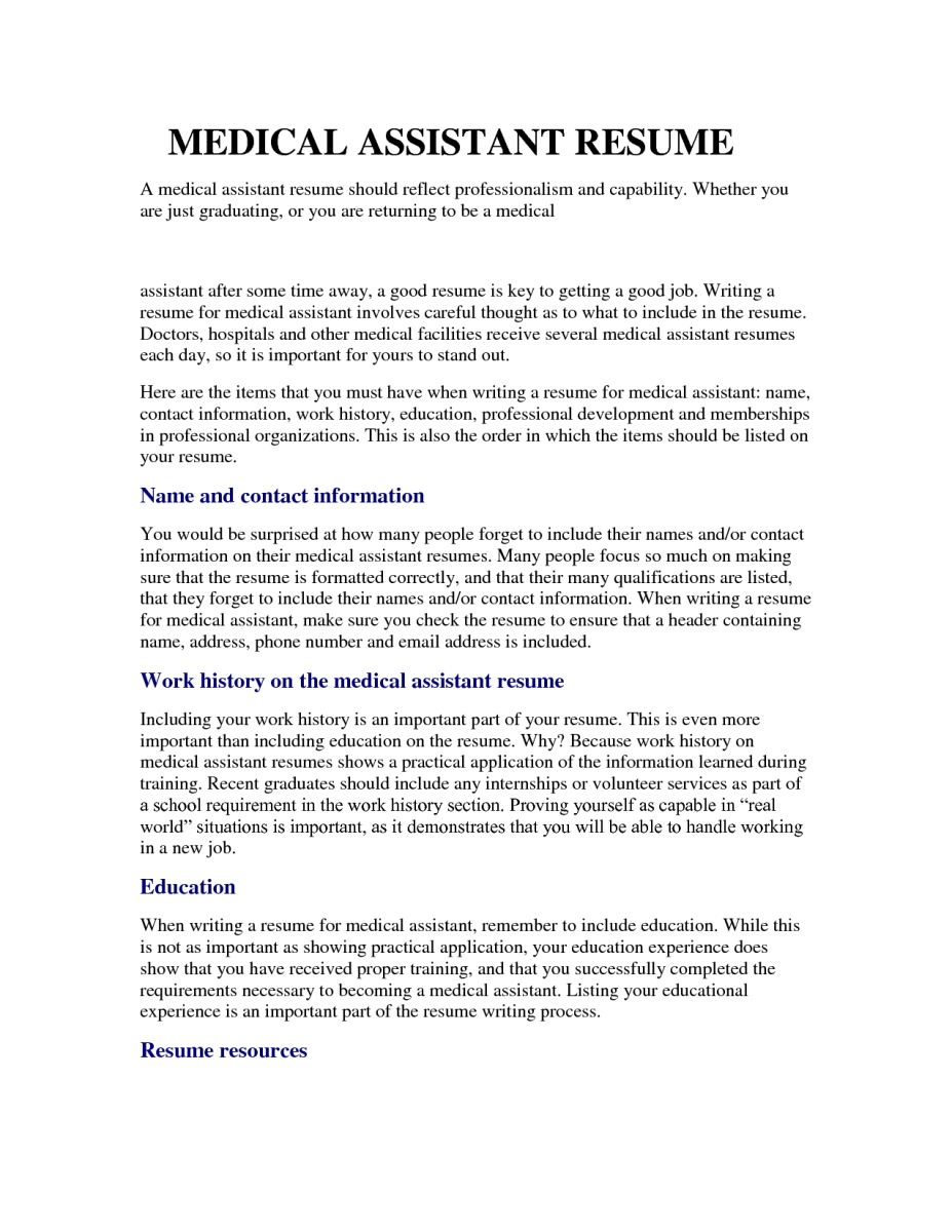 A Good Resume Example Medical Assistant Resume Samples Entry Level Resumesamples  Home