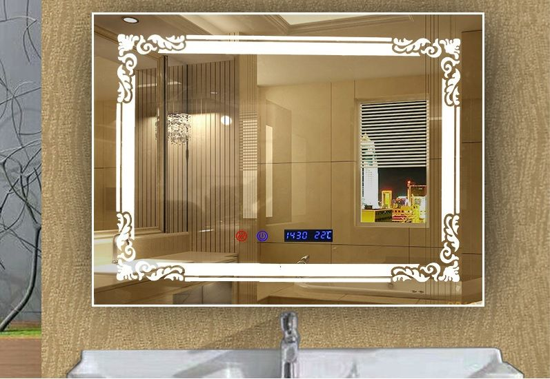 42usd Rectangular Bathroom Led Mirror With Clock Date Disappear Bathroom Mirror Design Led Mirror Bathroom Beveled Mirror Bathroom