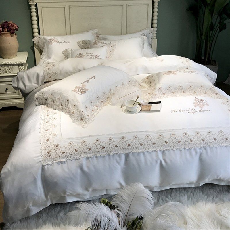 Luxury Romantic White Lace Wedding Themed Full Queen Size Bedding Bedspread Bedroom Sets Luxury White Bedding Luxury Bedding Sets White Bed Set