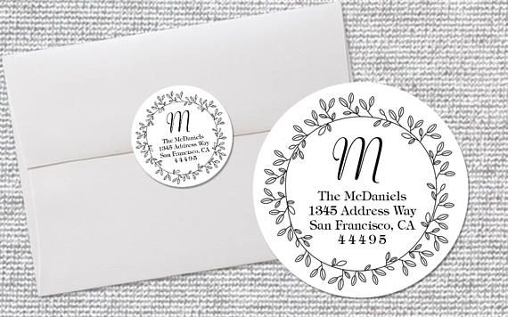 Scalloped Circle Custom Return Address Stickers with Color Options
