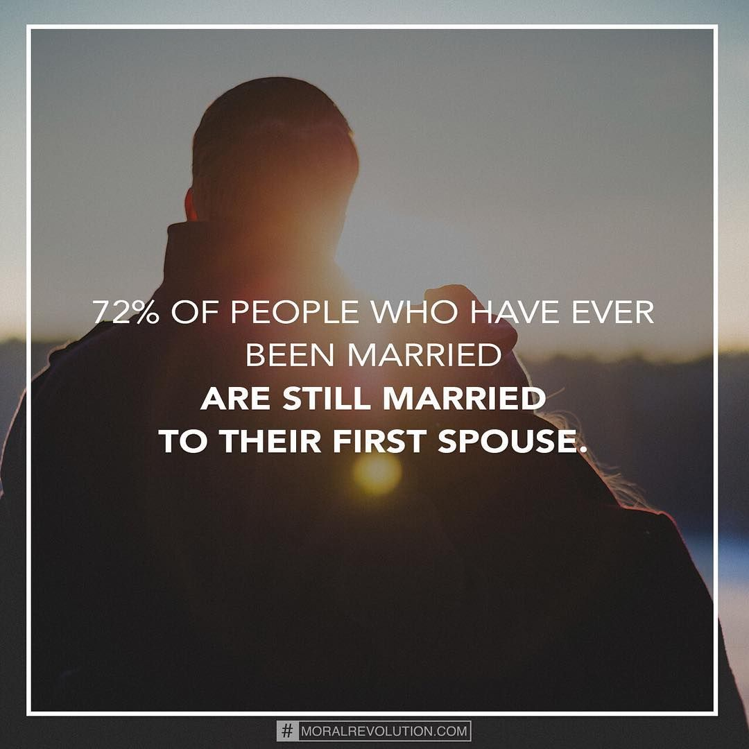 The divorce rate we often hear is alarming because it measures how many marriages end in divorce, but if you measure how many individuals stay married to their first spouse, things look a lot better. #therightfacts #stayingtogether #hope #youcandoit #moralrevolution  For more information check out the book The Good News About Marriage by Shaunti Feldhahn.