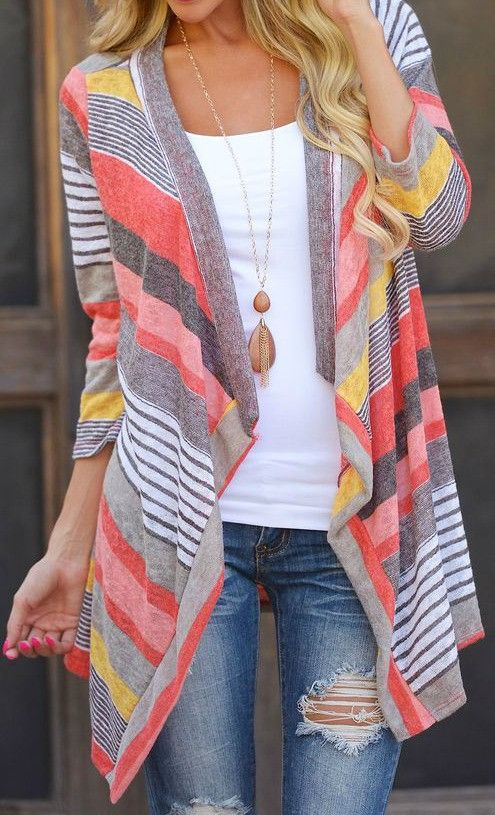 Women's cardigan casual long sleeve sweater Kimono Tunic Shrug in ...