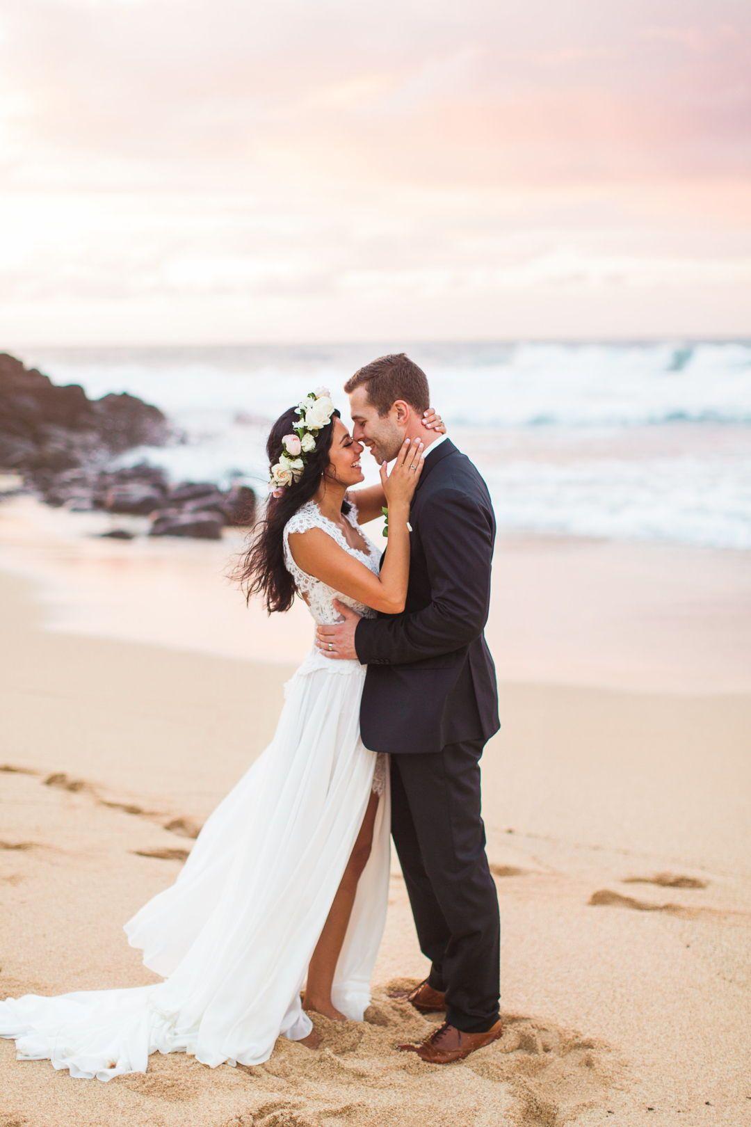 Oceanside bride u groom at na uaina kai botanical gardens kauai