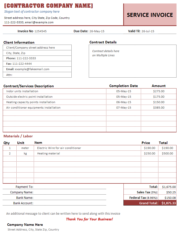 Construction Invoice Template Free  Construction Invoice Example