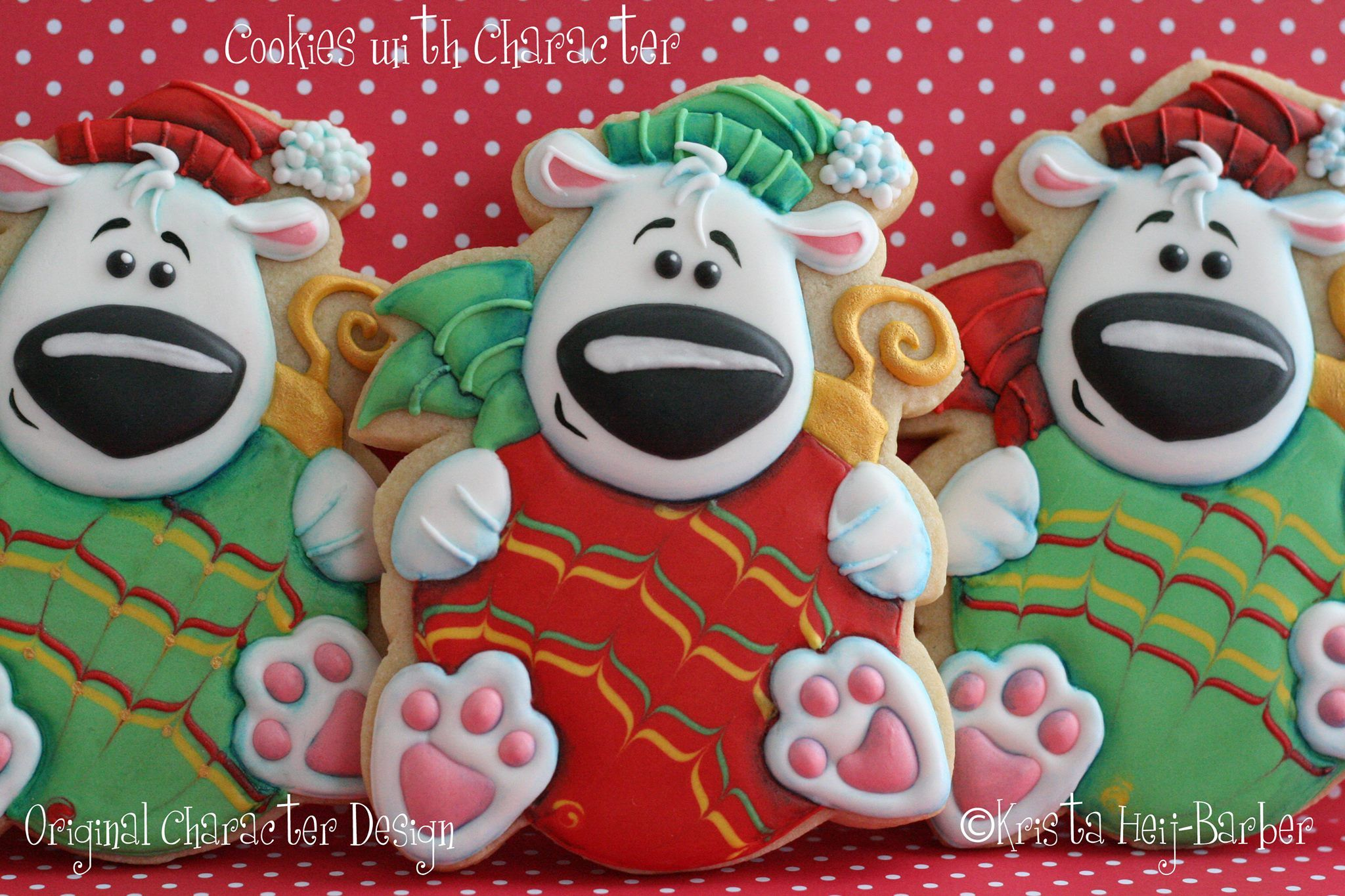 Christmas Polar Bears By Cookies With Character