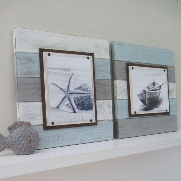 Multicolored Plank Frame Pair The Project Cottage Beach House Decor Decor Cottage Decor