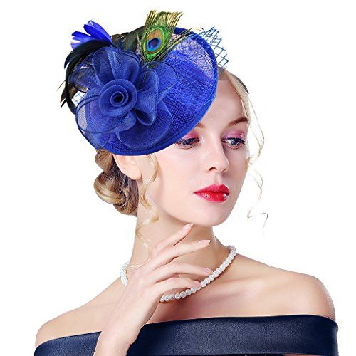 Edith qi Lady Retro Peacock Cocktail Fascinators Sinamay ... https   www 343d25b75a5