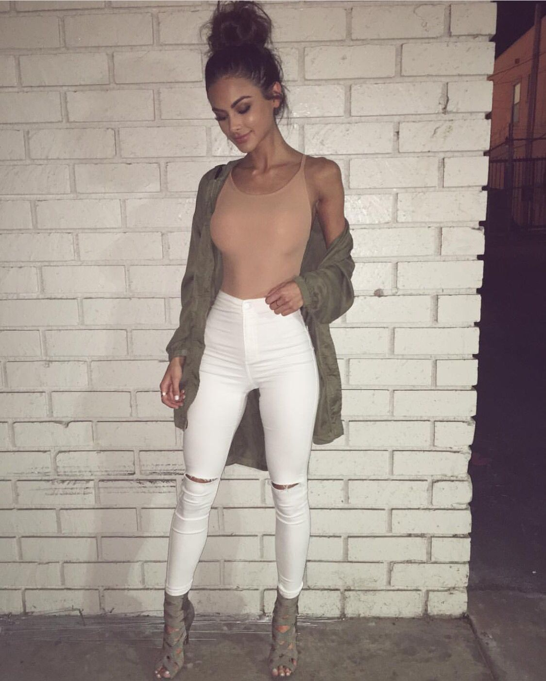 olive long bomber + matching heels with high waisted jeans & a bodysuit