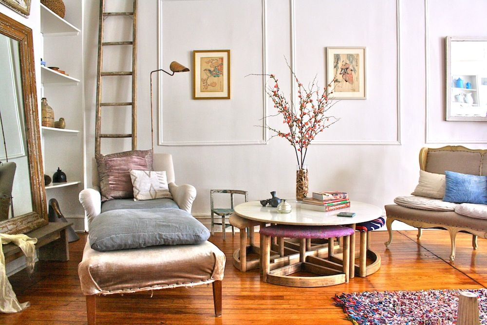 Interiors   Nightwood. This is a pretty interesting room. Too Brooklyn for us but I kept it in bc I really, really, really want the table with the stools underneath.  We'll have to have more muted fabrics, and made by someone else bc they declined.