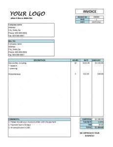 services receipt template