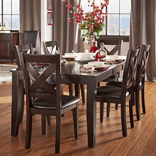 Tribecca Home 7 Piece Dining Room Set Is Crafted From Asian Wood