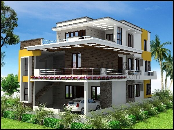 2836modern Triplex House L Jpg 600 450 House Plans Mansion House Elevation Indian House Plans