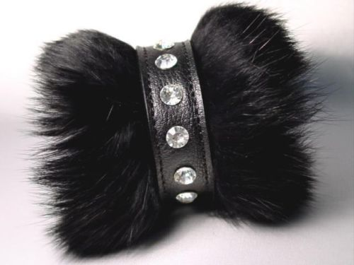 Punk Black Faux Fur Bracelet with Clear Crystals