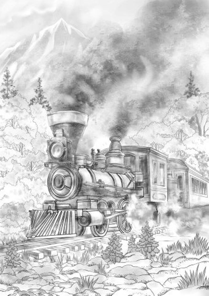 Train - Printable Adult Coloring Page from Favoreads ...