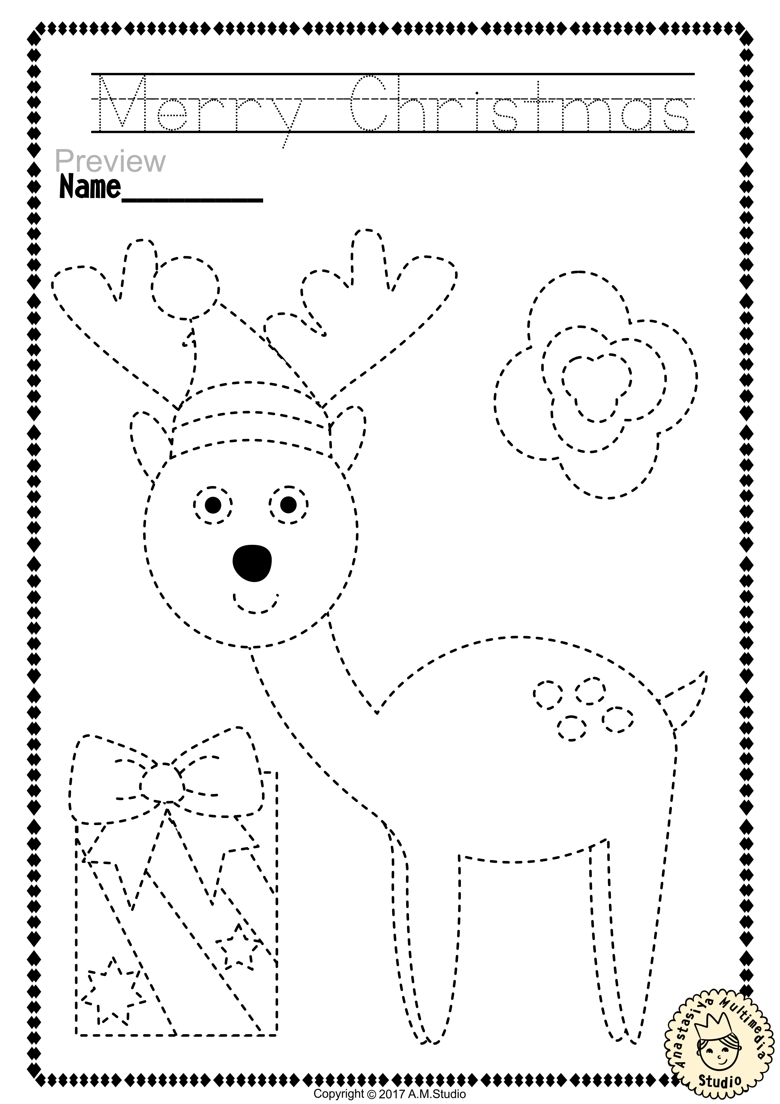 christmas trace and color pages fine motor skills pre writing christmas pre writing. Black Bedroom Furniture Sets. Home Design Ideas