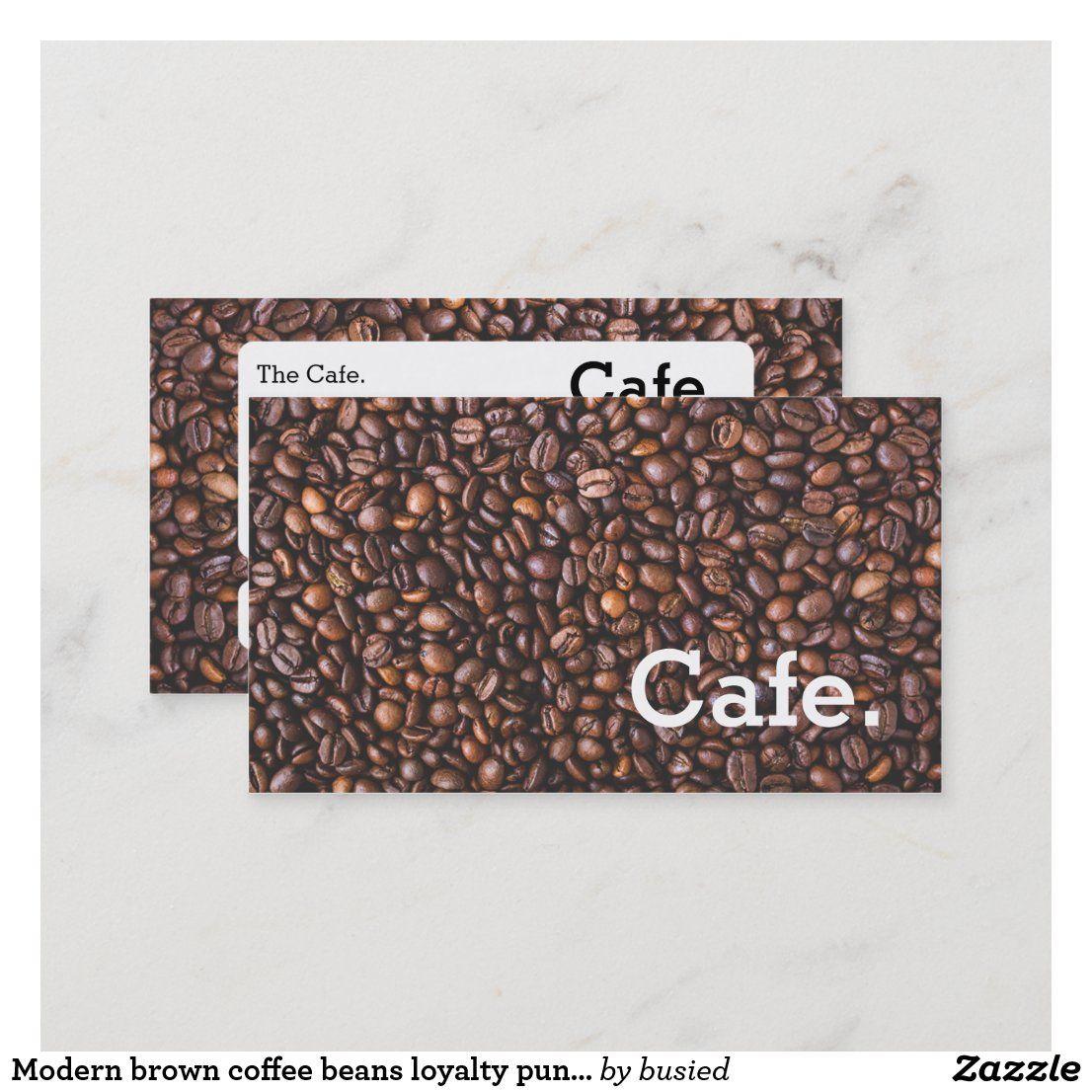 Modern Brown Coffee Beans Loyalty Punch Card Cafe Zazzle Com In 2020 Punch Cards Coffee Beans Loyalty Card Coffee
