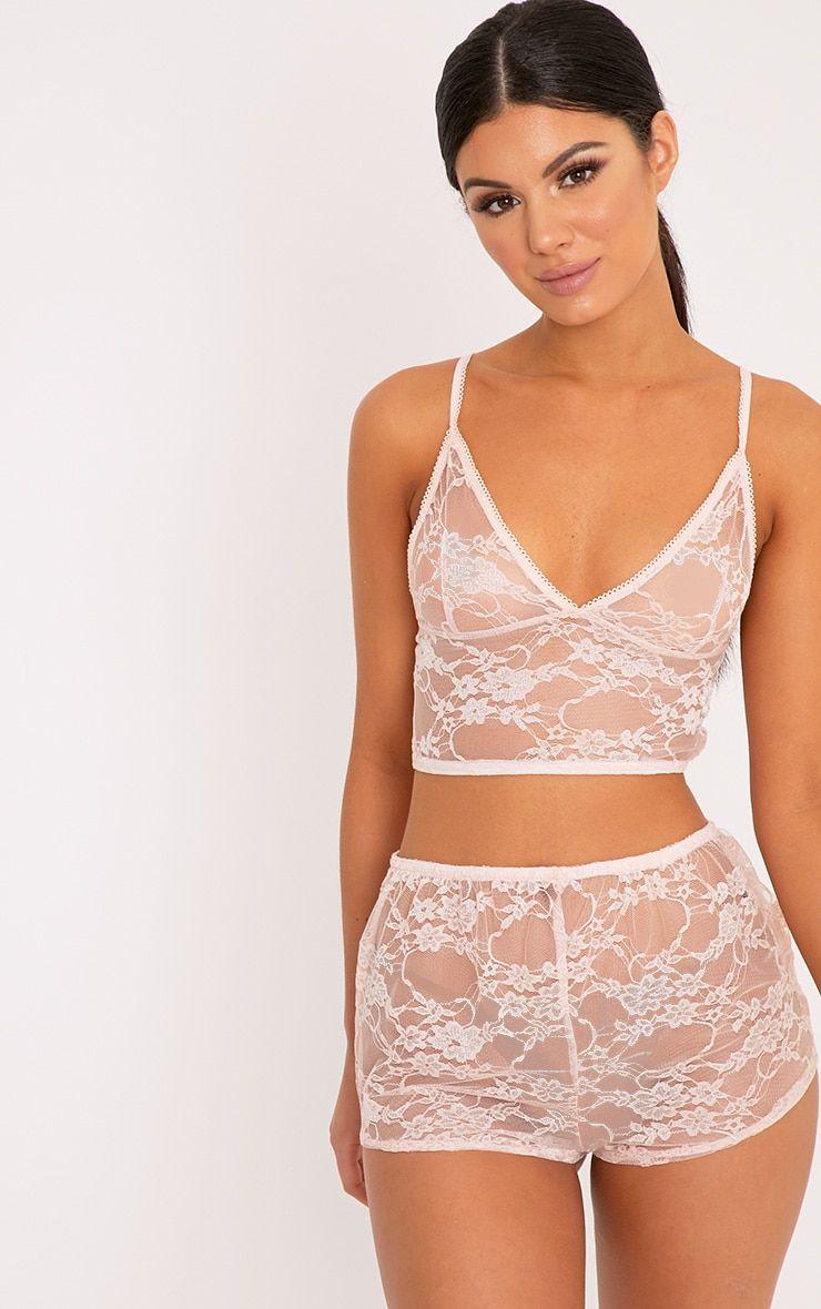 146cb66f968 Luma Nude All Over Lace Crop Top   Short Set