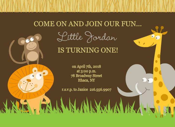 Safari Animals Set First Birthday Invite by PurpleTrailcom