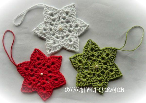 Diagrama de estrella de 6 puntas para tejer al crochet - Esquema punto estrella crochet ...
