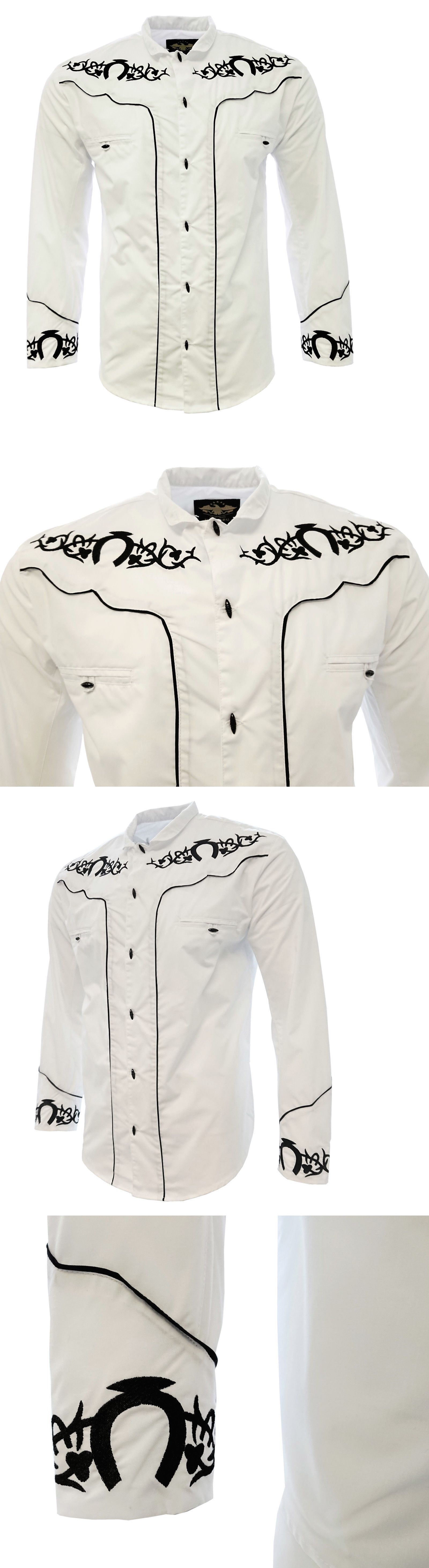 Latin America 155252  Men S Charro Shirt Camisa Charra El General Western  Wear Color White Long Sleeve -  BUY IT NOW ONLY   34.99 on eBay! a2c115d84