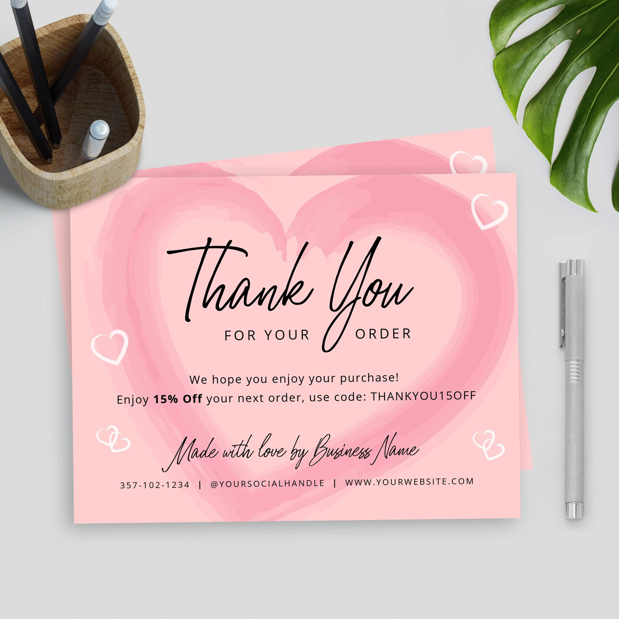 Business Thank You Card Template Editable Thank You Package Etsy Thank You Card Design Business Thank You Cards Purchase Card