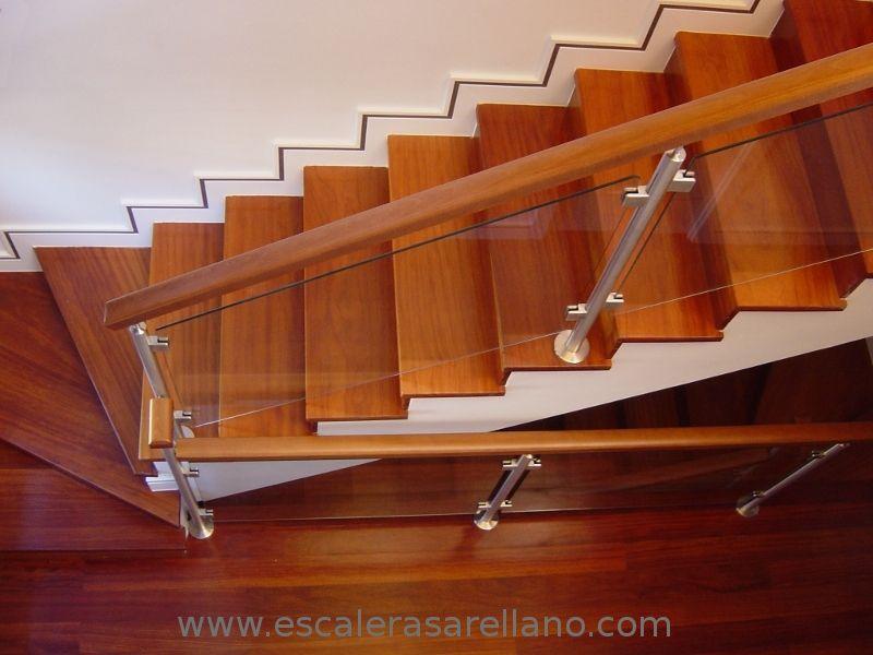 Barandilla de madera acero inoxidable y cristal - Escaleras de cristal y madera ...