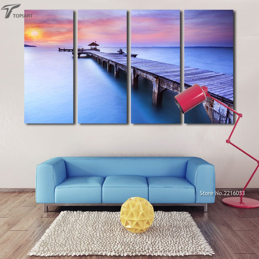 Modern Wall Art Printed Bridge Canvas Painting Decorative Sunset Seascape  Pictures For Living Room Home Decor